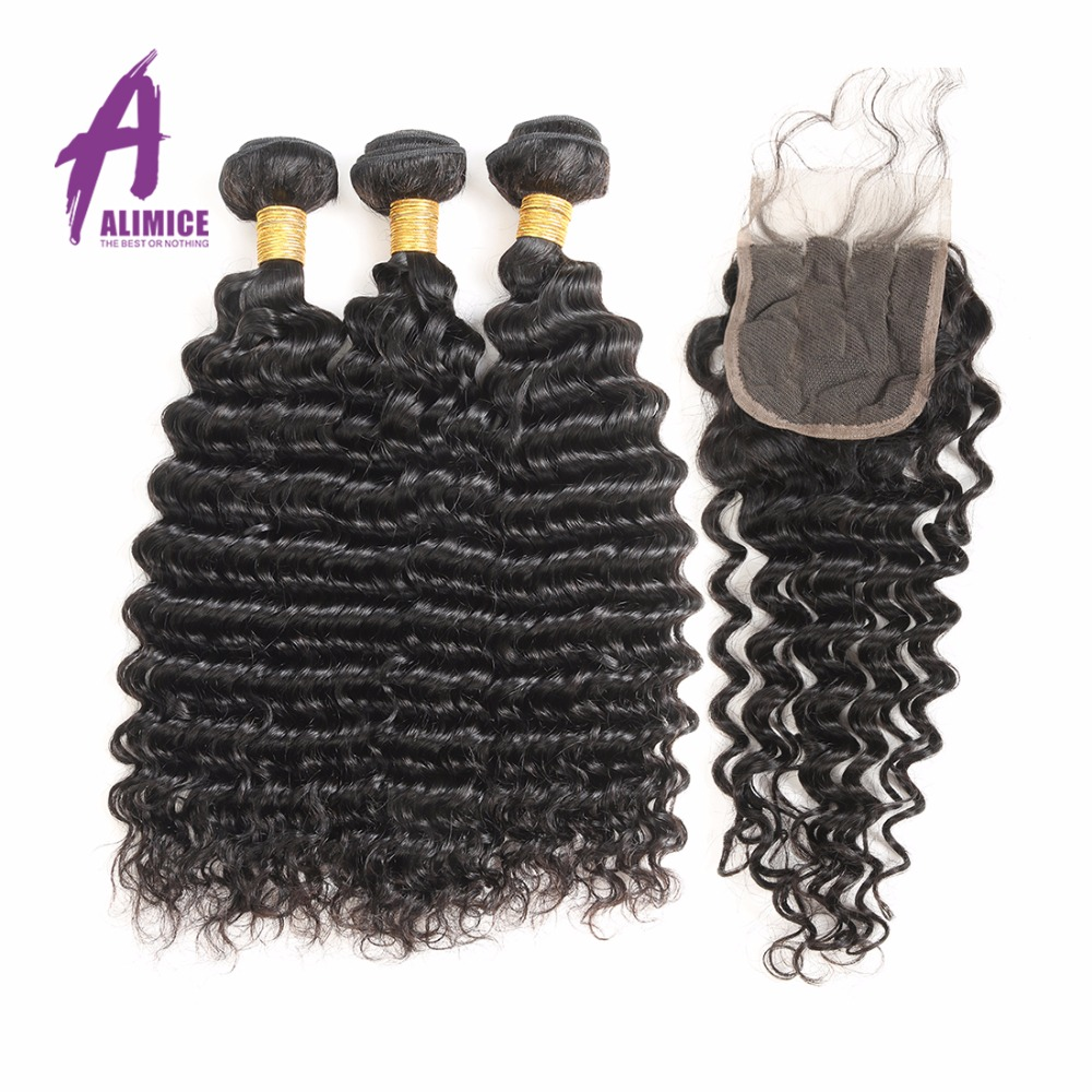 Alimice Deep Wave Brazilian Hair Weave Bundles 3 Bundles With Closure - Human Hair (For Black)