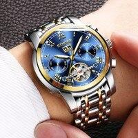 Fashion Sports Watches Switzerland BINGER Tourbillon Mechanical Watch Calendar Sapphire Luminous Waterproof Automatic Watch Men
