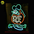 Rato Rato RETRO RF Sinal de Néon Neon Lâmpadas Sala de Recreação Sinal de néon Tubo de Vidro Real Affiche Artesanato Super Brilhante interior 24x15
