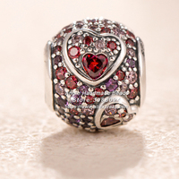 2019 Valentine 925 Sterling Silver Asymmetric Hearts of Love Multicolored charm Fit All European Pandora DIY Bracelets Necklaces