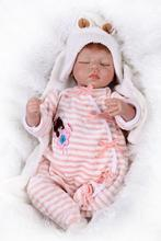 1PC/Set 55 cm 22inch Real Baby Dolls For Sale With Real Cotton Coverall Clothes Sweet Bebes Menina Sleeping Benecas For Children