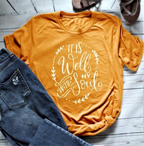 Está Tudo Bem Com A Minha Alma das mulheres T-Shirt de Manga Curta camisa camiseta moda feminina Cristão slogan amarelo rosa feminina topos de arte