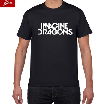 2019 New  IMAGINE DRAGONS pok harajuku T shirt men Letters Print 100% Cotton Casual rock band street wear tee homme - sale item Tops & Tees