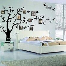 Duży 250*180 cm/99 * 71in czarny 3D drzewo ze zdjęciami diy naklejki ścienne pcv/samoprzylepne naklejki ścienne rodzinne Mural ozdoby do dekoracji wnętrz darmowa wysyłka