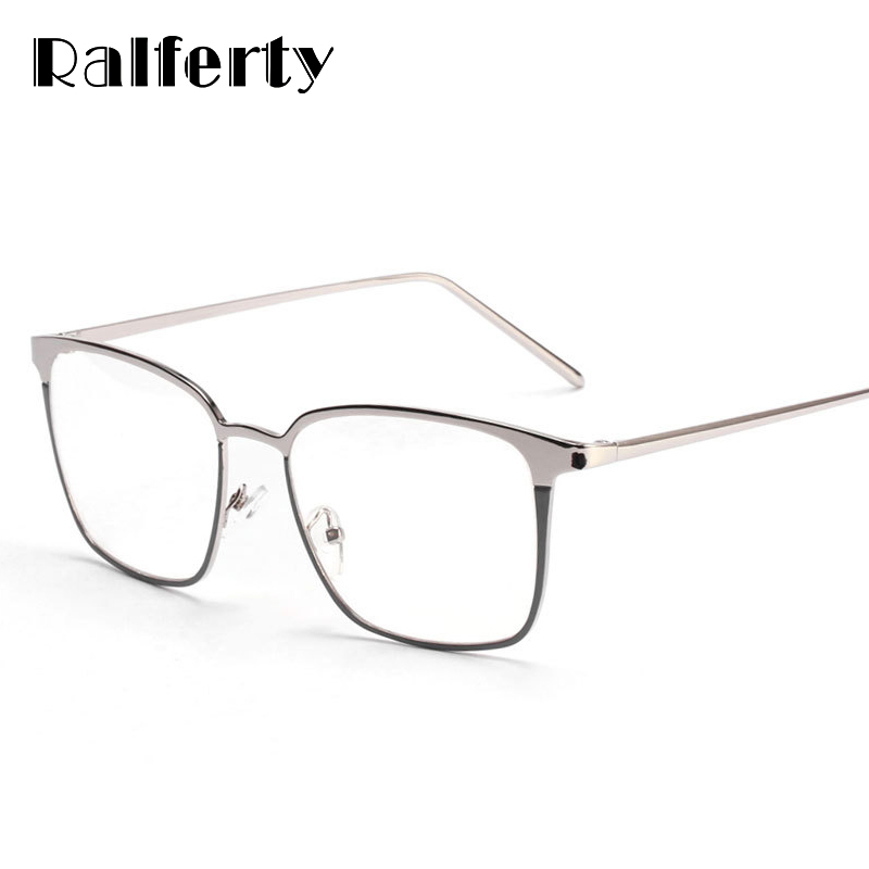 Ralferty Square Glasses Frame Women Men Metal Eyeglasses Optical Frames Eyewear Clear Lens Gold Silver Spectacles 3170