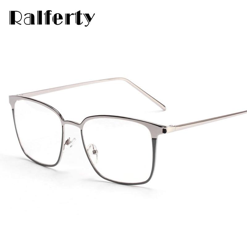 Ralferty Square Glasses Frame Women Men Metal Eyeglasses Optical Frames Eyewear Clear Lens Gold Silver Spectacles 3170