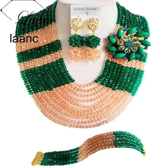 Ejército Verde del Duraznero Nigeriano Boda Perlas Africanas Joyería Conjunto Bolas de Cristal Collar de La Joyería de Traje Africana ABE1078