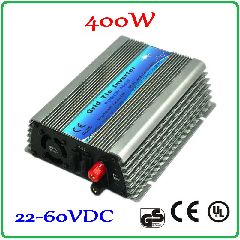 400W Grid Tie Inverter 22-60VDC Input for 30V 60Cells and 36V 72Cells Solar Panel Pure Sine wave 190-260VAC or 90-140VAC Output free shipping 600w wind grid tie inverter with lcd data for 12v 24v ac wind turbine 90 260vac no need controller and battery