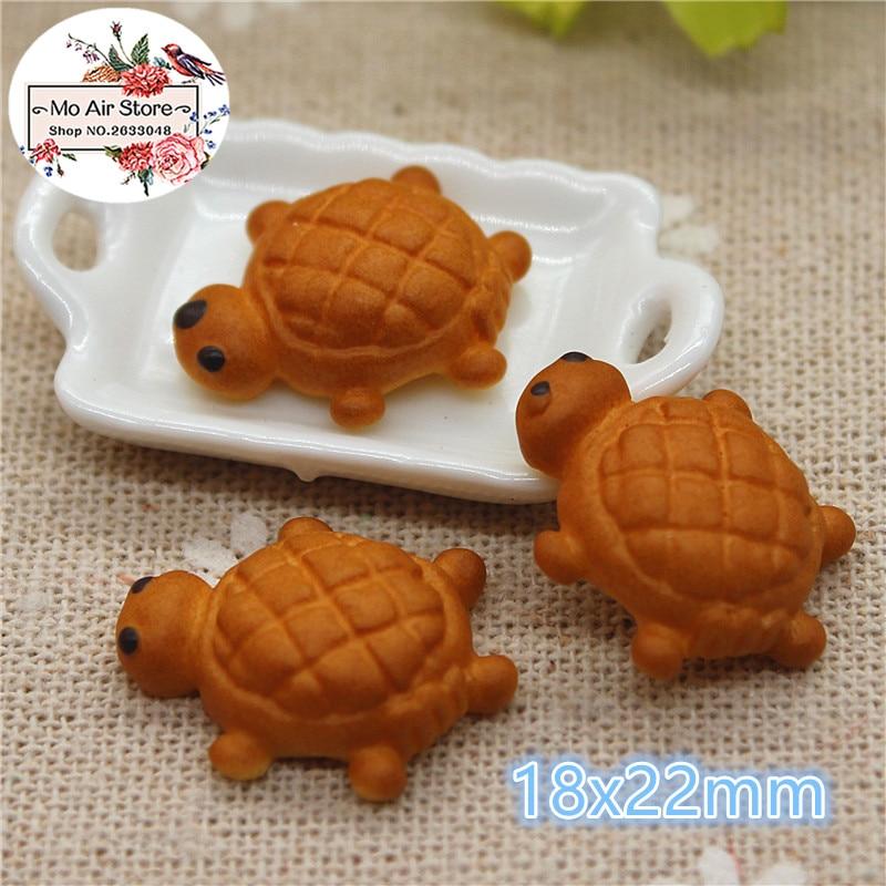 10PCS Tortoise Bread Resin Flat Back Cabochon Imitation Food Art Supply Decoration Charm Craft