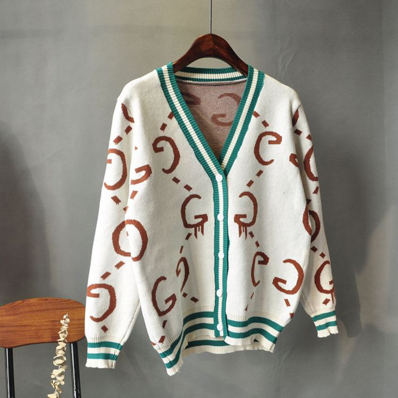 2019 Korean Version Spring Autumn Leisure Loose Female Sweater Cardigan Long Sleeve Knitted Printing Feminina Coat Aa1042