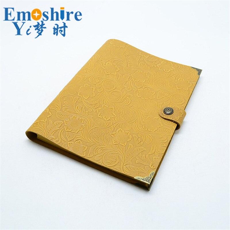 Cuoio Genuino dell'annata Notebook Travel Diary Journal Planner Sketchbook Agenda Ricarica FAI DA TE di Carta Scuola Regalo Di Compleanno N125