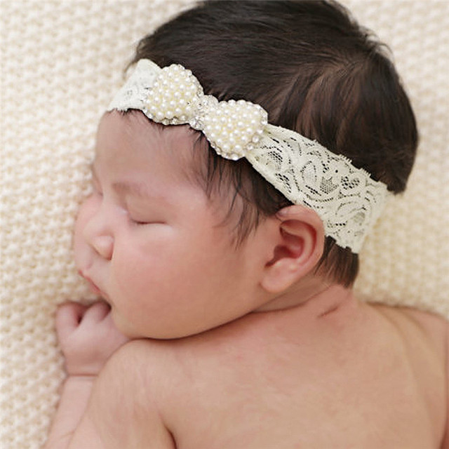 baby girls lace headbands with pearl bowtie bow knot cotton hairband