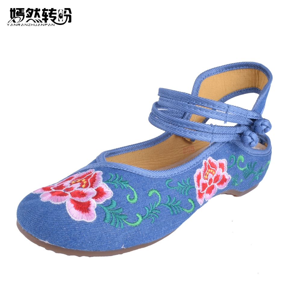 New Arrive Chinese Embroidery Flats Old Beijing embroidered canvas floral shoes Traditional  dance single shoes size 34-41 women flats summer new old beijing embroidery shoes chinese national embroidered canvas soft women s singles dance ballet shoes
