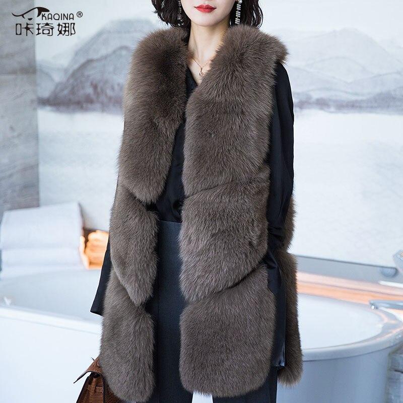 Натуральный мех пальто с натуральным лисьим мехом жилет Осенне зимняя Дамская обувь куртка без рукавов Женщина Пушистый Жилет длинное паль