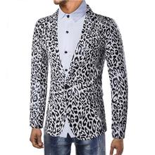 Wedding Suits for Men Leopard print Stage Blazer Jacket Slim fit Casual Mens Black White