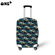 2016 ONE2 Design kleine dinosaurier druck abdeckung gelten 22,24, 26 zoll koffer polyester faltbare nylon gepäck abdeckung