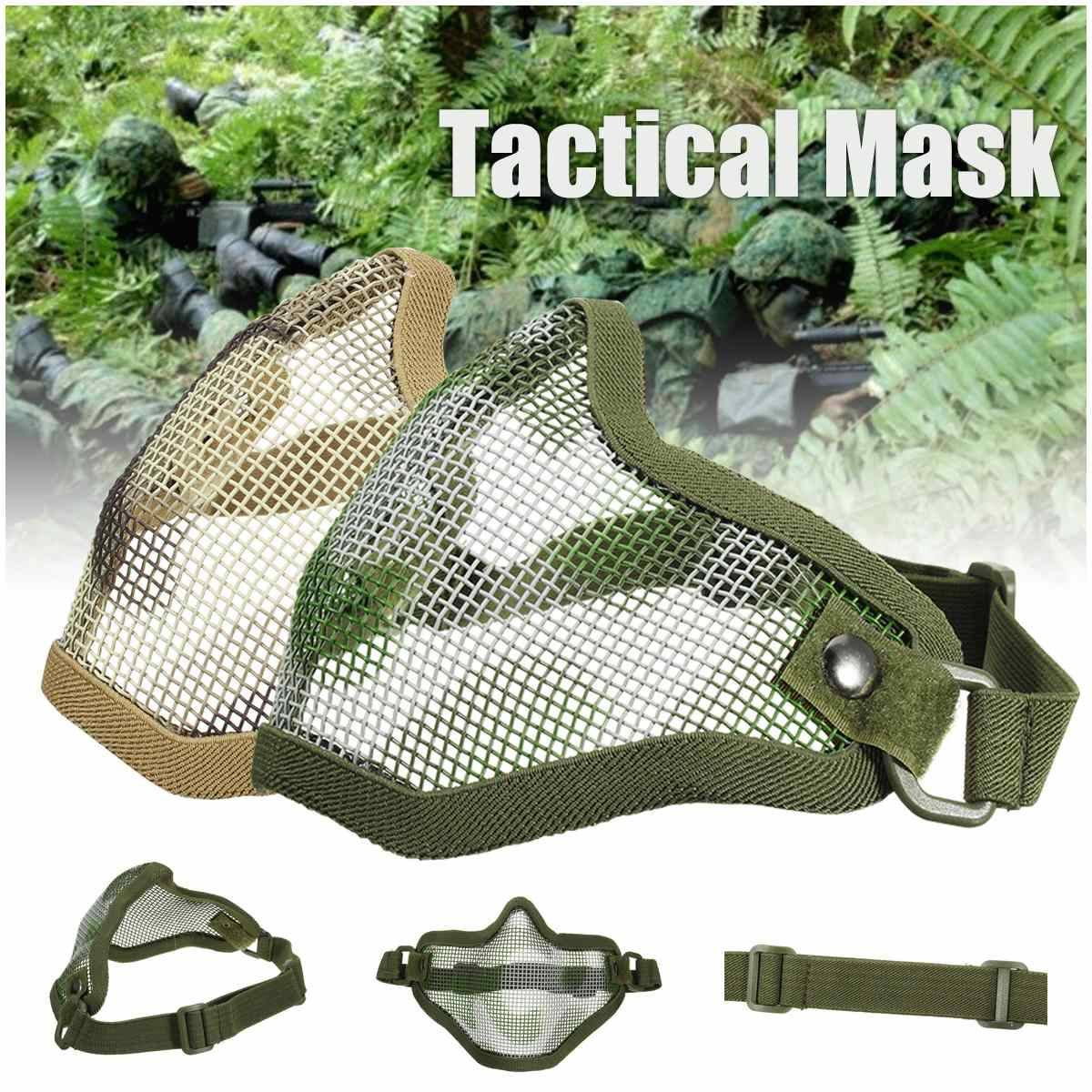 Airsoft Mask Half Face Metal Mesh Tactical Protective Cover CS Mototcycle Gear ...