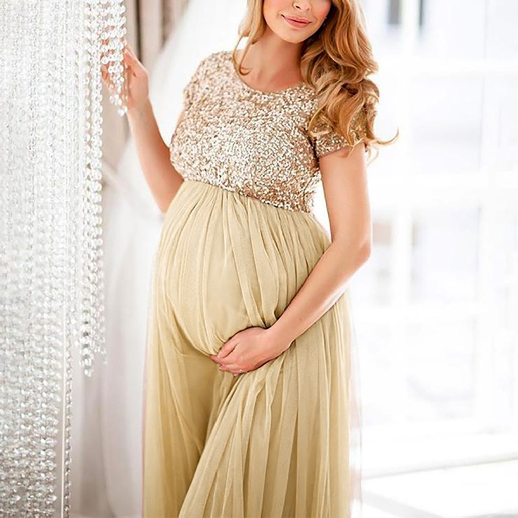 MUQGEW Plus Size Maternity Dresses For Photo Shoot Wedding Dress For Pregnant Women Maternity Gown For Photo Shoot Pregnancy#G6