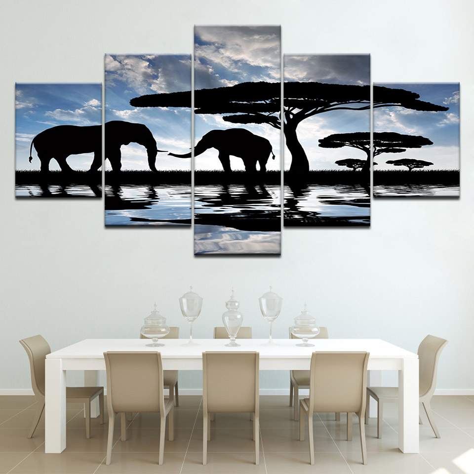 Elephants Tree Print Poster Canvas Art 5 Panel Canvas Painting Wall Art Modular Pictures for Living Room Home Decor Artwork in Painting Calligraphy from Home Garden