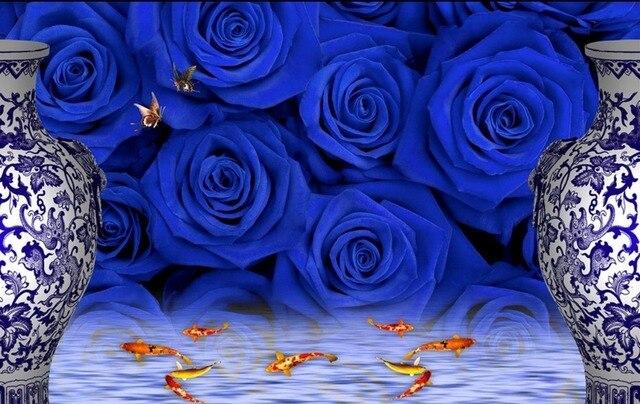 Flower Wallpaper Mural Blue Rose TV Backdrop 3d Modern For Living Room Murals Home Decoration