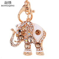 Free Shipping Hot Tiny Cute Crystal Elephant Keychain Shaped Crystal Key Rings Animal Pendant Keychains Women