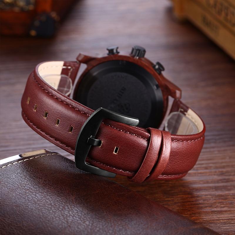 SIHAIXIN orologo Uomo cuero relojes de madera para hombre marca superior de lujo moda impermeable ejército militar deporte fecha hombre reloj # A regalo - 3