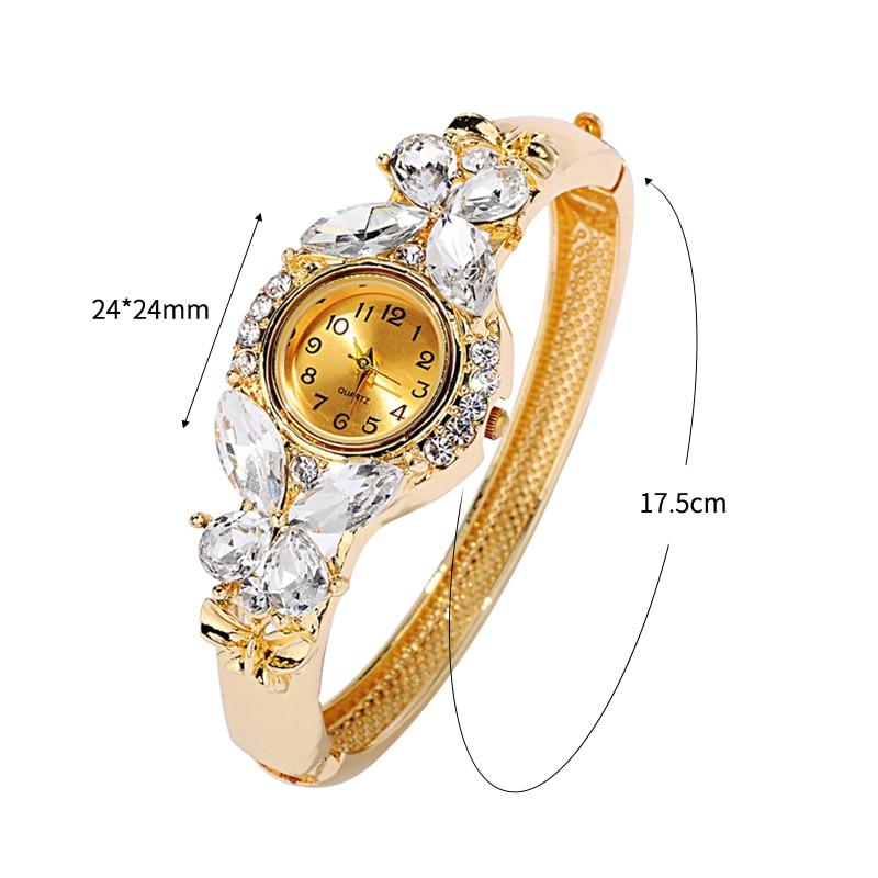 JUNYU mode guld klockor armband klocka kvinnor fjäril gemstone - Damklockor - Foto 2