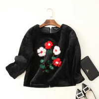 2017 Fashion Black Faux Fur Coat Women Short Jacket Coat Pullover 3 4 Sleeve Embroidery Floral