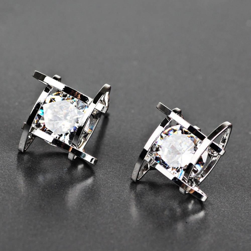 New Arrivals Hot Fashion Hollow Out Square Zircons Earrings Ear Studs Trendy Style Unique Special Pattern Hot Selling