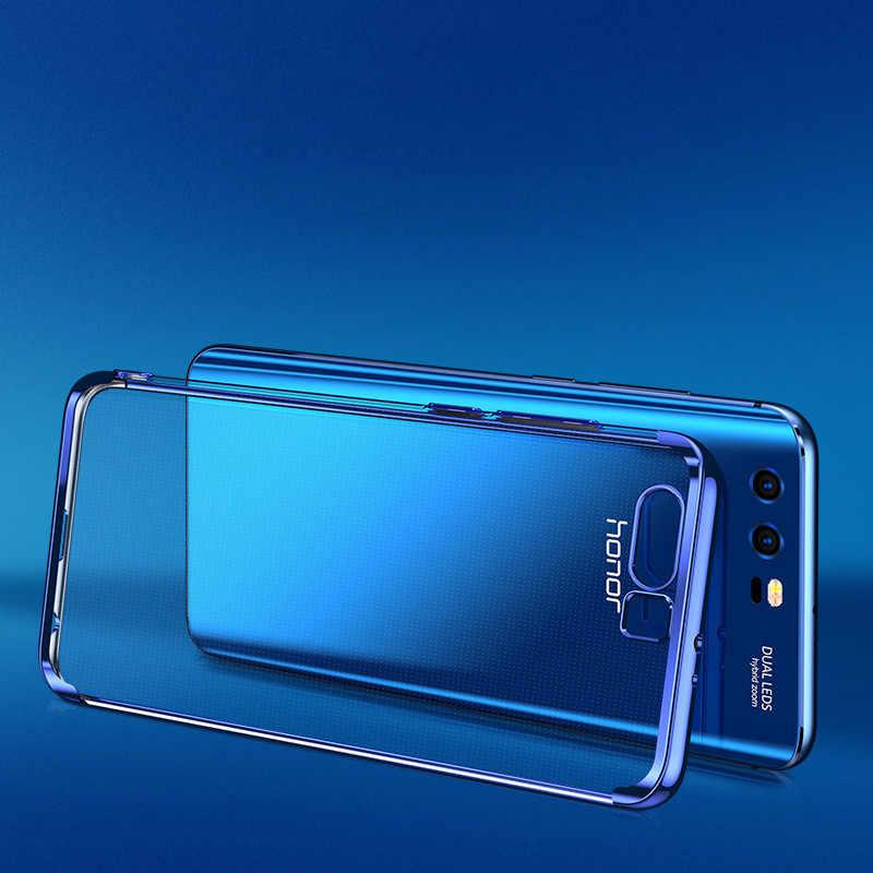 WeeYRN 透明メッキ Huawei 社の名誉 9 lite 8 lite プロ高級フルシリコーン TPU カバー Huawei 社の名誉 8 × 8 lite 9