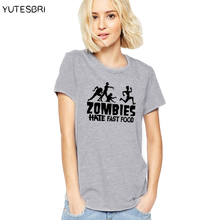 Women tops The Walking Dead fashion brand tops tees loose t-shirt female clothing summer zombies hate fast food cotton t shirt