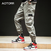 AOTORR Fashion 2019 Cargo Loose Man's Jogger Trousers Camouflage Side Pockets Ankle length Males Hip Hop Streetwear Pants Men's