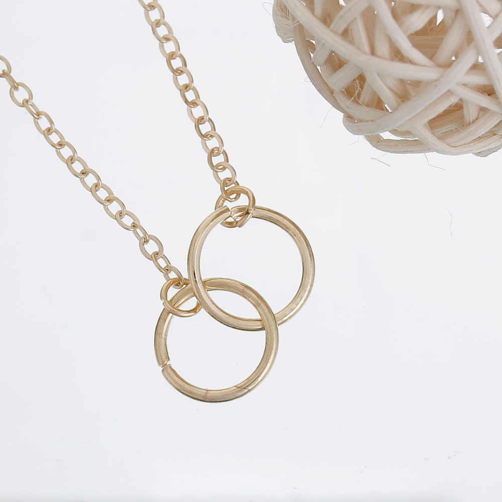 Collier 8 saisons anneau cercle couleur or creux 46.7 cm de long, 1 pièce