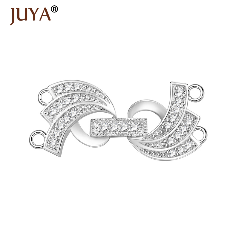 Handmade DIY Pearls Bracelet Necklace Clasps Micro Pave Zircon Rhinestone Clasp Hooks Jewelry Findings Components