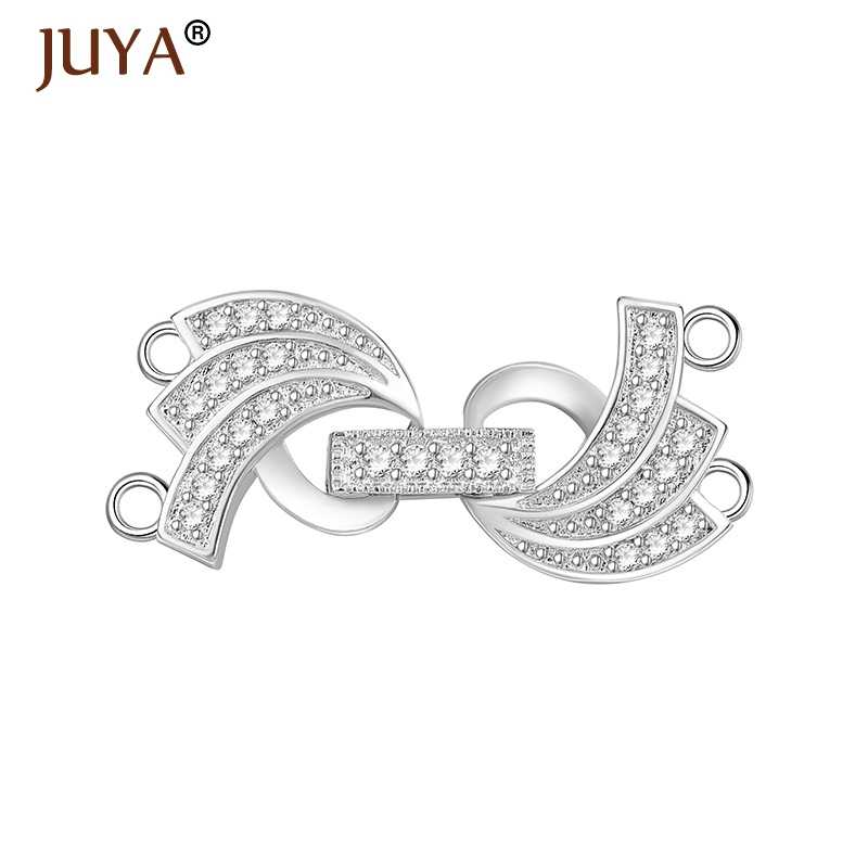 Jewelry Findings Components Handmade DIY Pearls Bracelet Necklace Fold Over Clasps  Micro Pave Zircon Rhinestone Copper cadfec7e1603