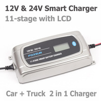 FOXSUR 12V 8A 24V 4A 11 stage Smart Battery Charger, Car Truck AGM EFB GEL WET Battery Charger, Lead Acid Charger LCD Display