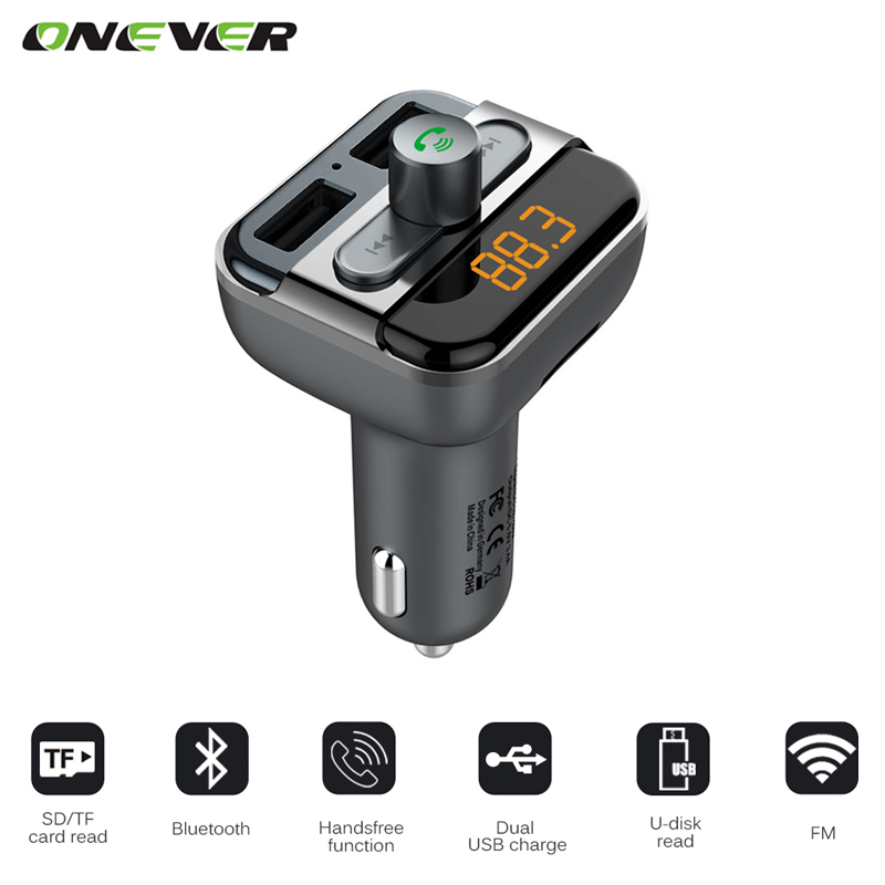 Onever Bluetooth Car Kit Handsfree FM Transmitter MP3 music Player 5V 3.4A Dual USB Car charger Support Micro SD Card 32G