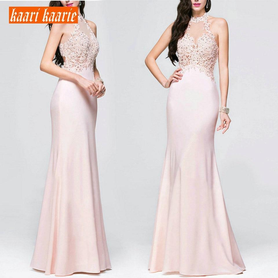 Sexy Lady Pink Mermaid Evening Gowns 2019 Evening Dresses Long Women Halter-Neck Elastic Satin Appliques Cheap Women Party Dress