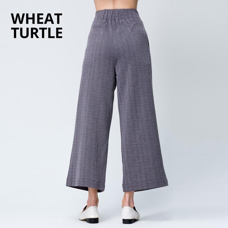WHEAT TURTLE Minimalist Apparel Women's Clothing Women's   pants     Capris   Women Office Lady Flat Drawstring Ankle-Length   Pants