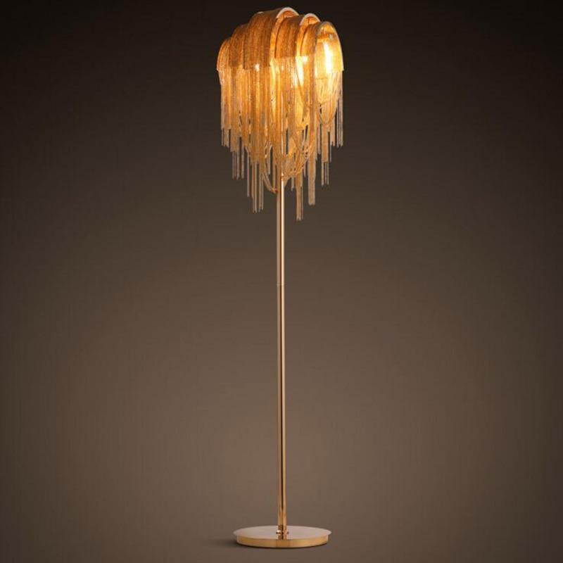 Post-modern creative individuality floor lamp hotel project tassel aluminum chain lights ...