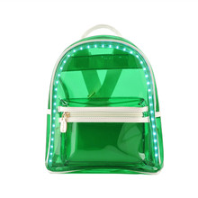 Новый стиль конфеты цвет молнии Рюкзак ПВХ СВЕТОДИОДНЫЕ фонари прозрачный мешок плеча женщины рюкзак rucks
