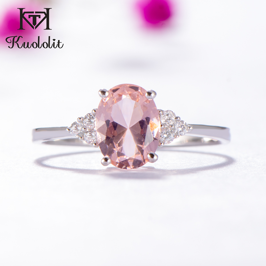 Kuololit Morganite Gemstone Ring For Women Solid 925 Sterling Silver Created Pink Color Stone Wedding Engagement  Fine Jewelry