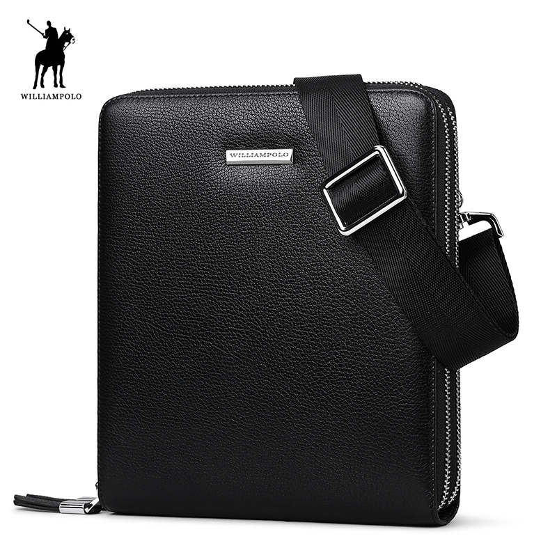 WILLIAMPOLO 2018 100% Leather Men Messager Bag Casual Crossbody Bags Business Men's Handbag Bags For Gift Shoulder Bags POLO008D polo 100% 2015 men bags