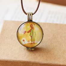 Children Kids Boys Girls Gifts Aromatherapy Oil Frame Loket Cartoon Le Petit Prince and Rose 45cm Rope Chain Pendant Necklace
