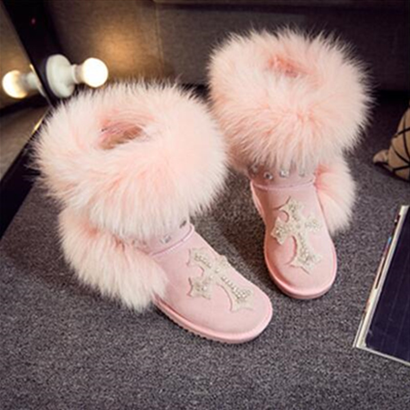 Fashion style big nature fox fur girls tall snow boots for women botas genuine leather winter shoes high boot high quality