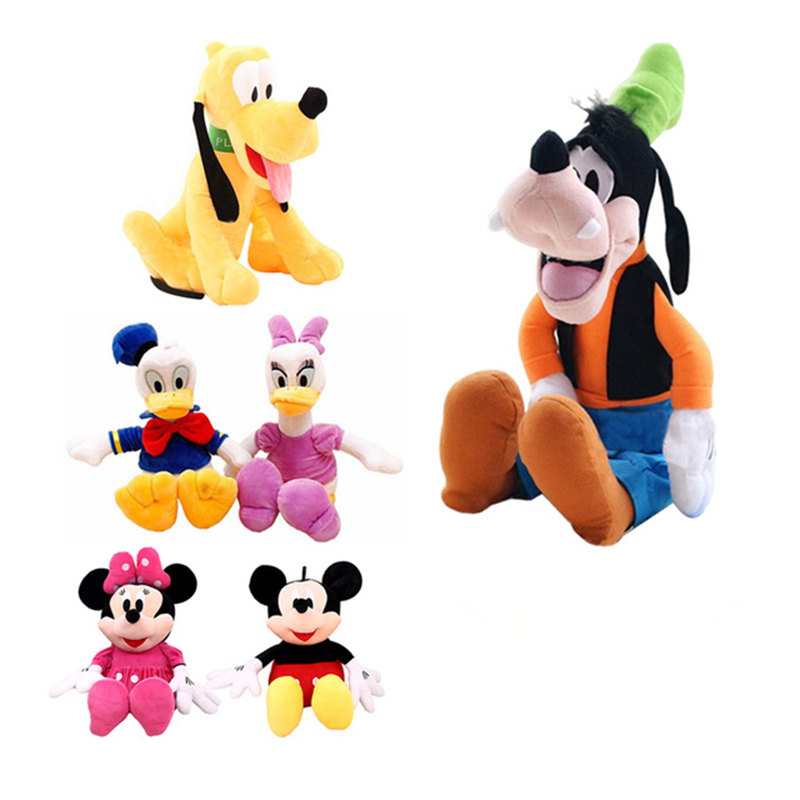 6pcs/lot Hot Mickey Mouse Minnie Mouse Donald Duck Daisy Goofy Dog Pluto Dog Plush Animals Toys Birthday Gifts Valentine Toys