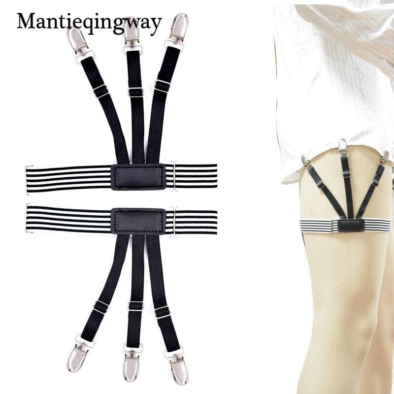 Mantieqingway Fashion Black Shirt Stays Garters For Mens Suspenders Braces Gentleman Elastic Adjustable Striped Suspensorio Belt