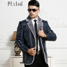 Ptslan 2016 Men's Genuine Leather Jacket Real Lambskin With Rabbit Fur Coat
