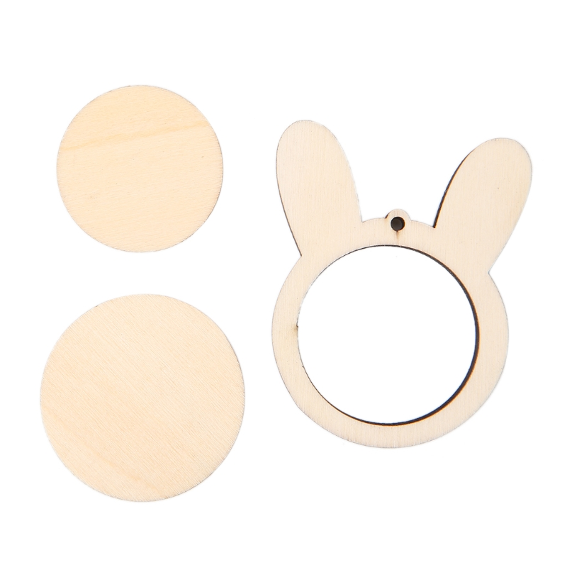 Rabbit Wooden Frame Hand Cross Stitching Embroidery Hoop Framing Jewelry DIY