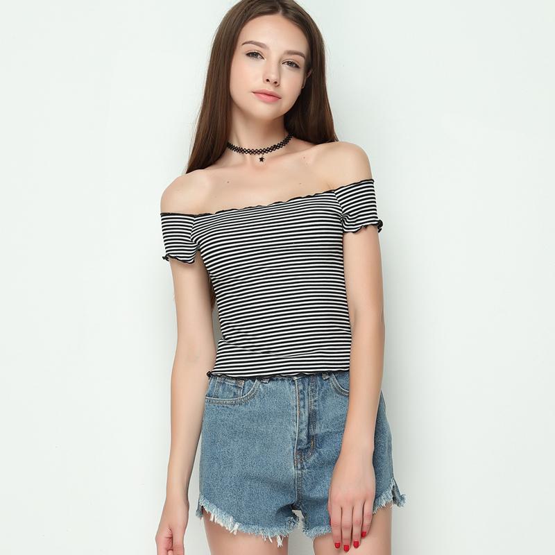 HTB1WsXwRVXXXXXTapXXq6xXFXXXs - Striped Knitted Off Shoulder Slash Neck Short Sleeve T Shirt PTC 27